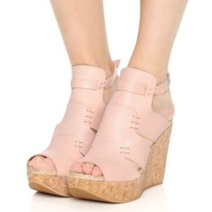 FREE PEOPLE VACHETTA  ROSE LEATHER CORK WEDGES